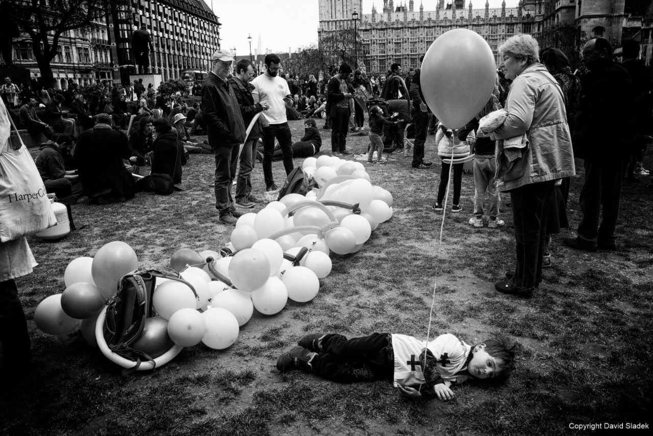 Child's play during London demonstration
