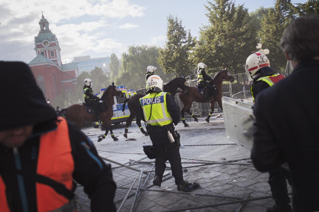 Anti-nazi protests in Stockholm.