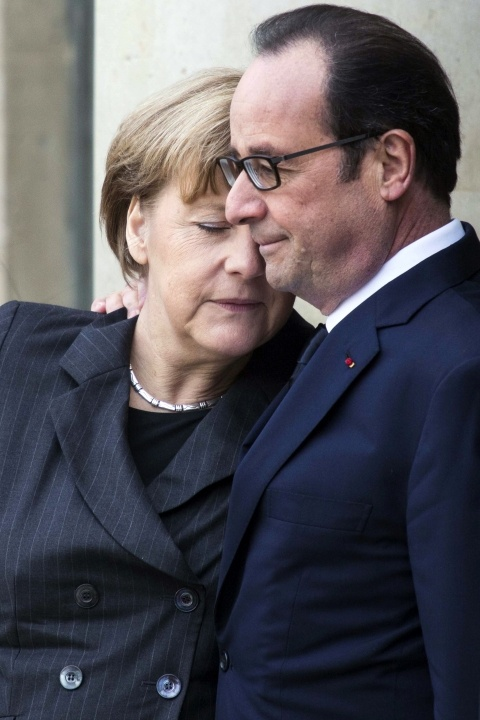 Merkel and Hollande in Elysée on January 11, 2015