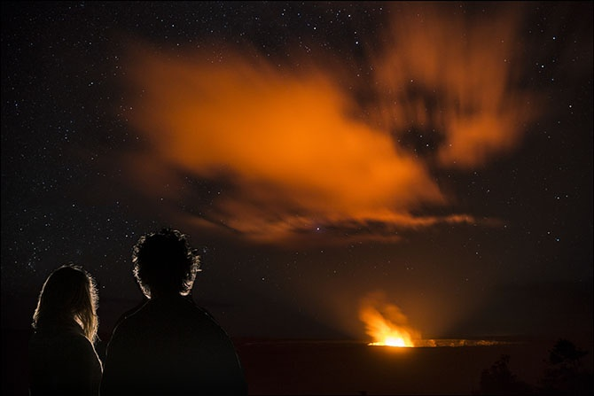 Viewing Kilauea Volcano on Hawaii Island