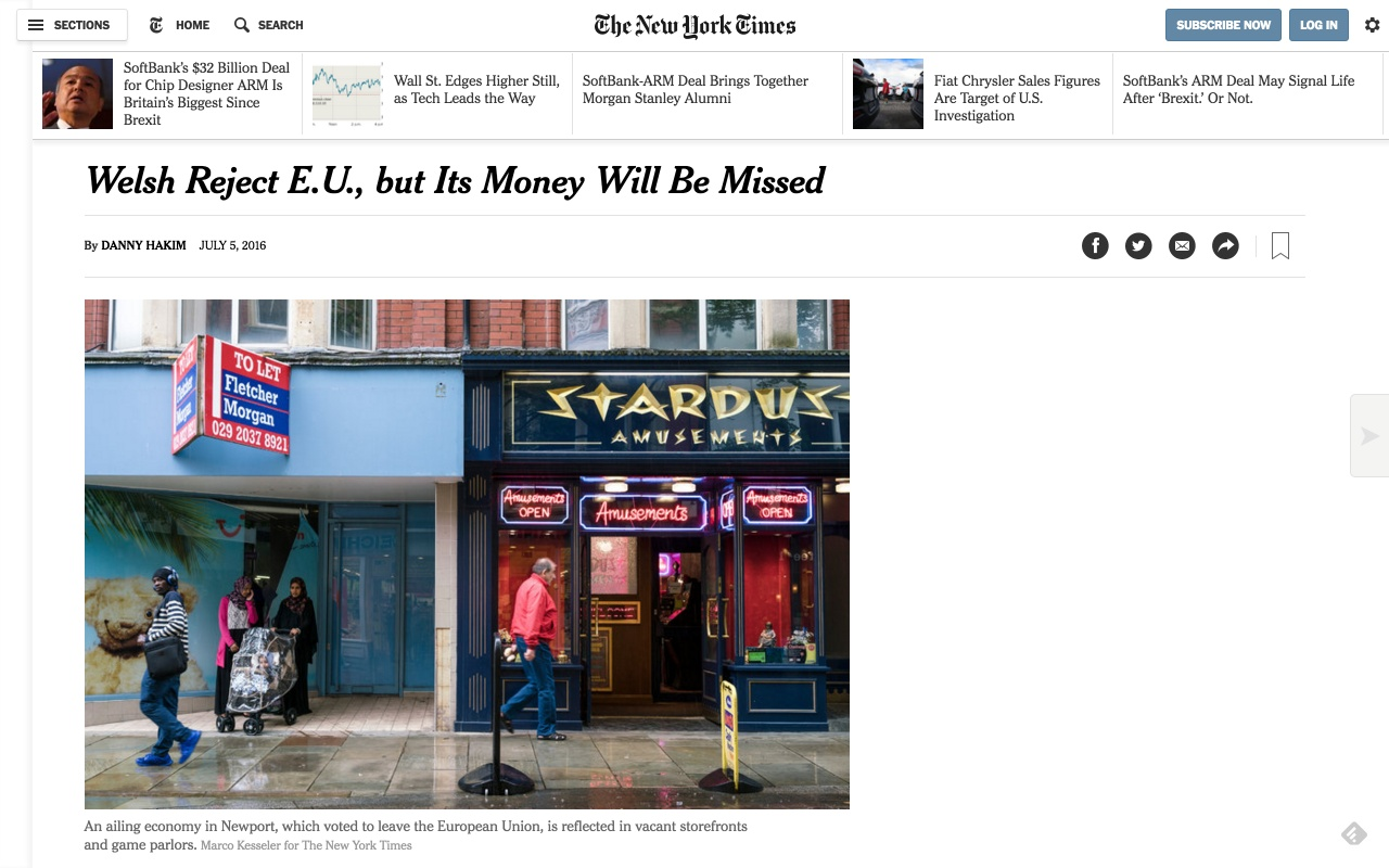 Brexit coverage for The New York Times