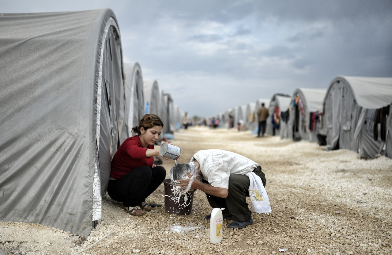 Syrian refugees in camp