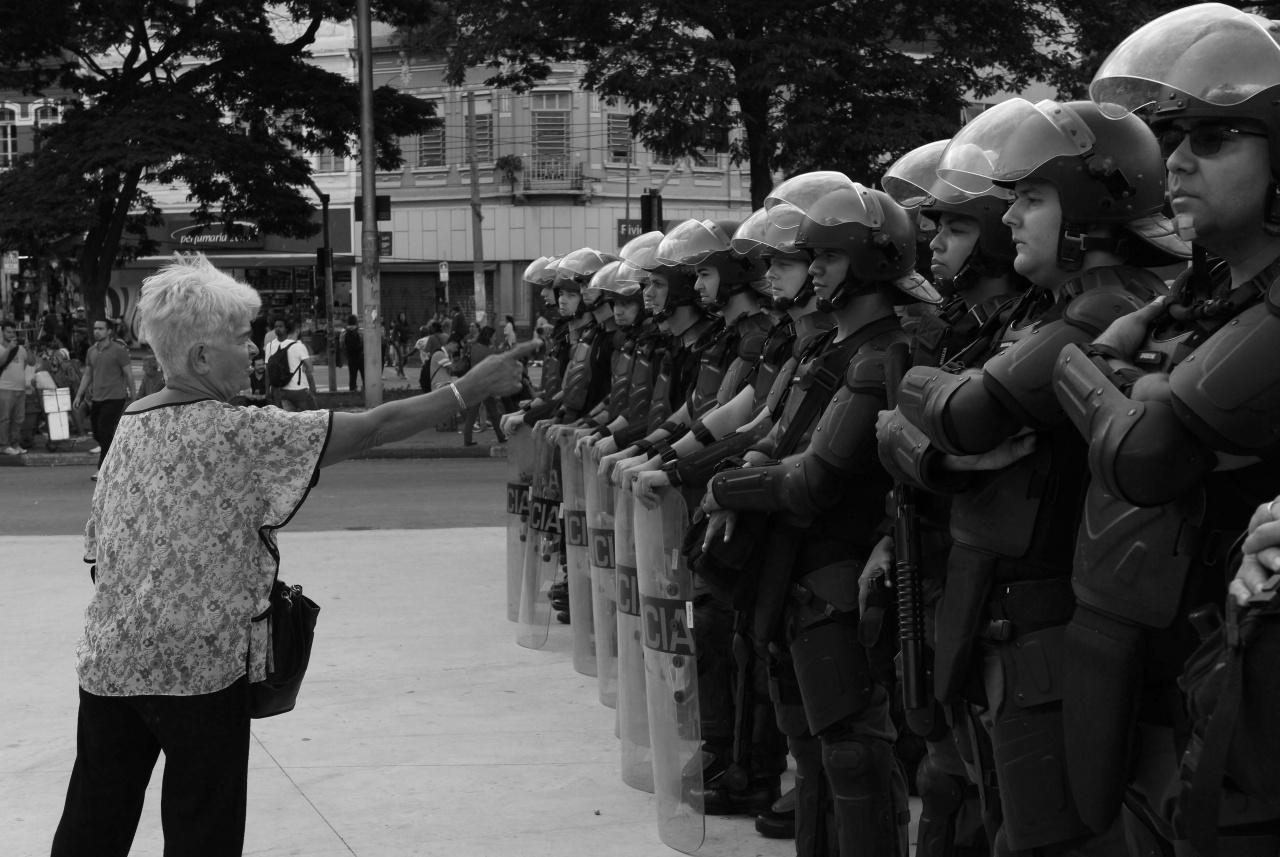 Scene during protest in São Paulo