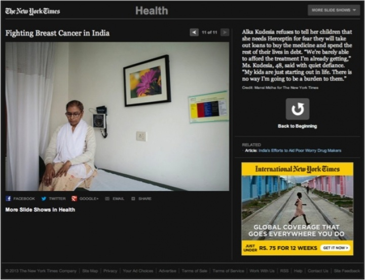 Breast Cancer Story for The New York Times
