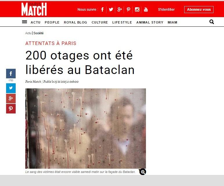 Paris Match, atacks Paris