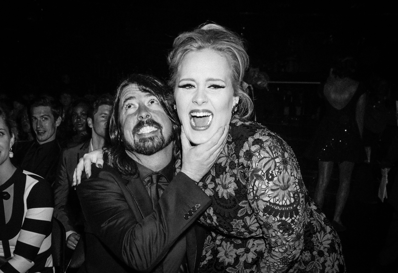 Dave Grohl and Adele at the 2013 Grammys