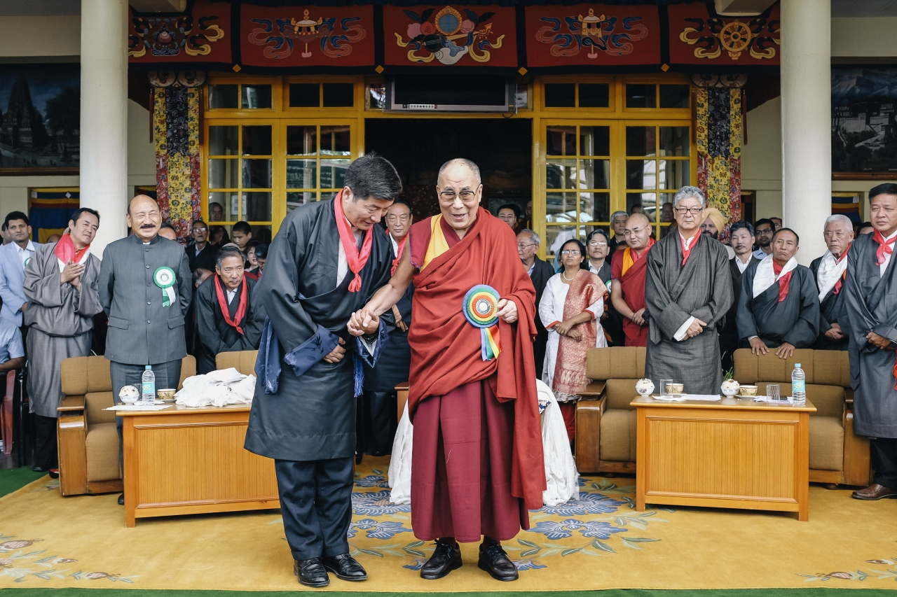 His Holiness the Dalai Lama and Lobsang Sangay.