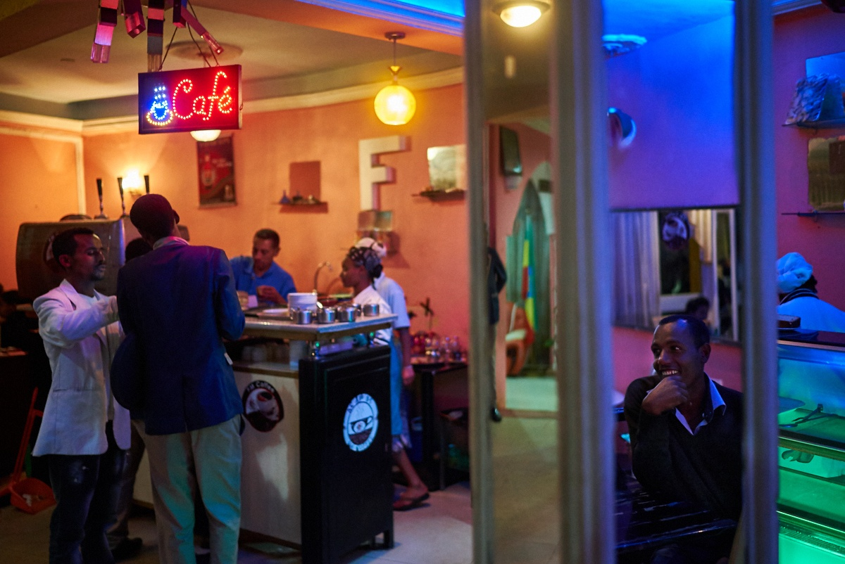 Nightlife in ethiopian cafe.