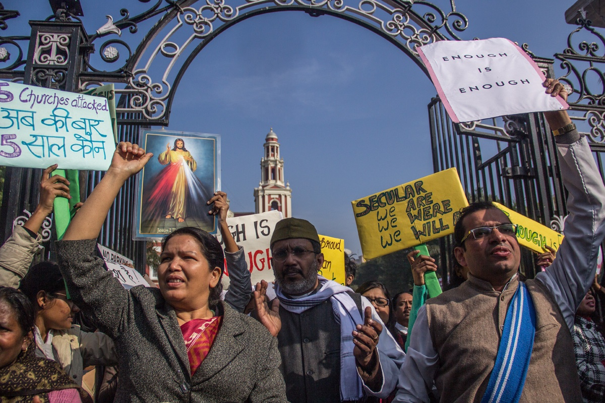 From protest against Delhi church attacks