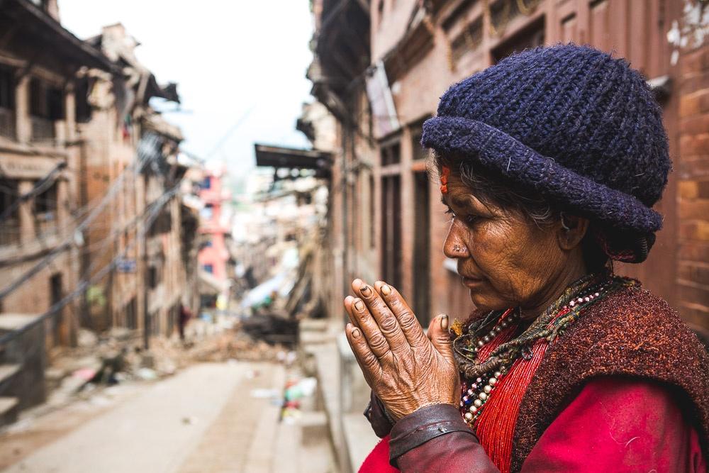 Woman Praying for Nepal