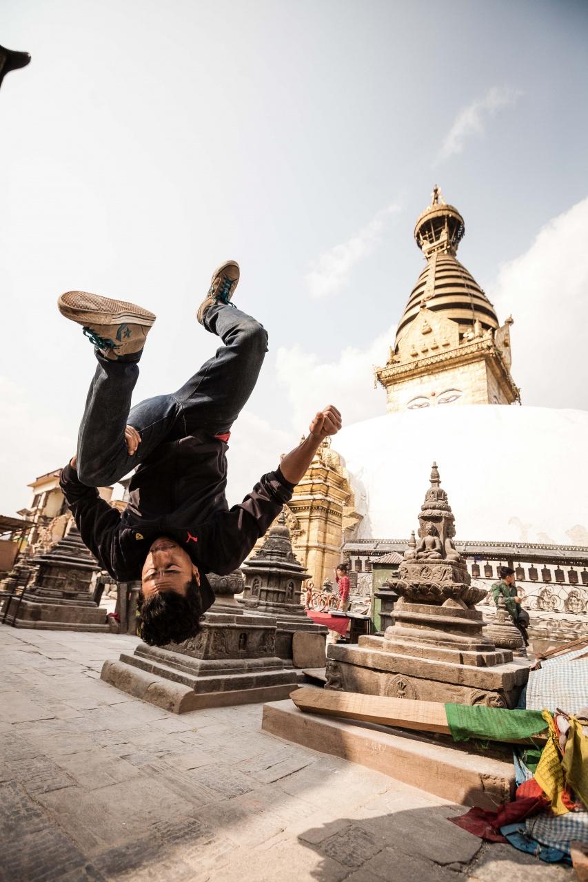 Bboy Anil at Swayambhunath, Nepal