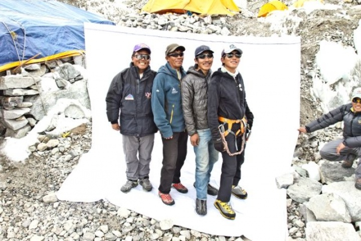 Four Sherpa Brothers at Mt Everest Base Camp