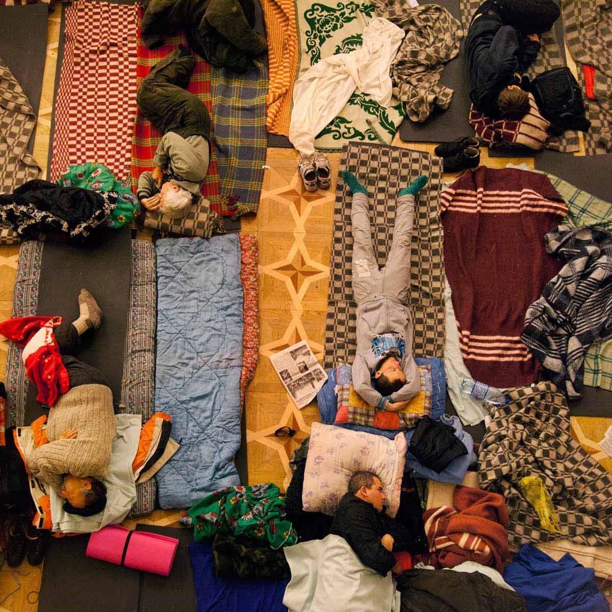 Euromaidan. Protestors napping