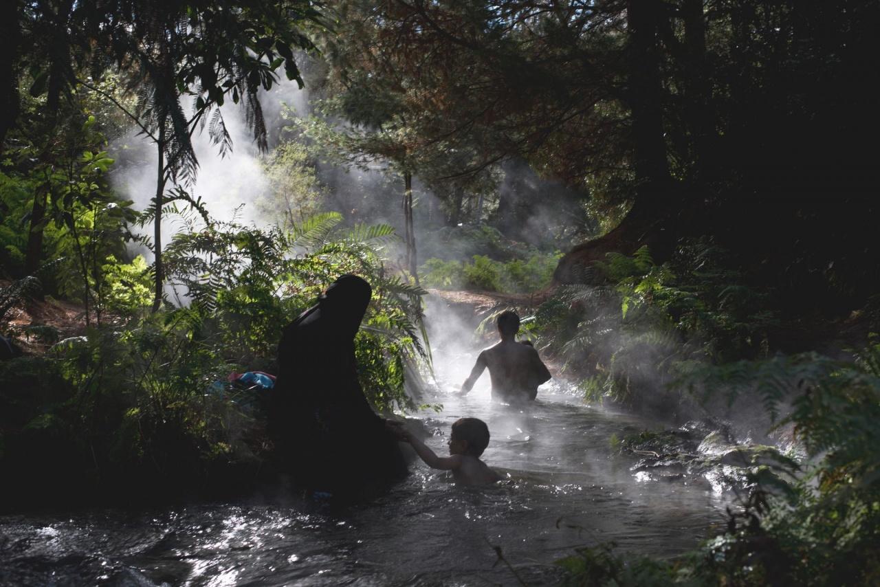 Hijabi enjoying volcanic hot springs