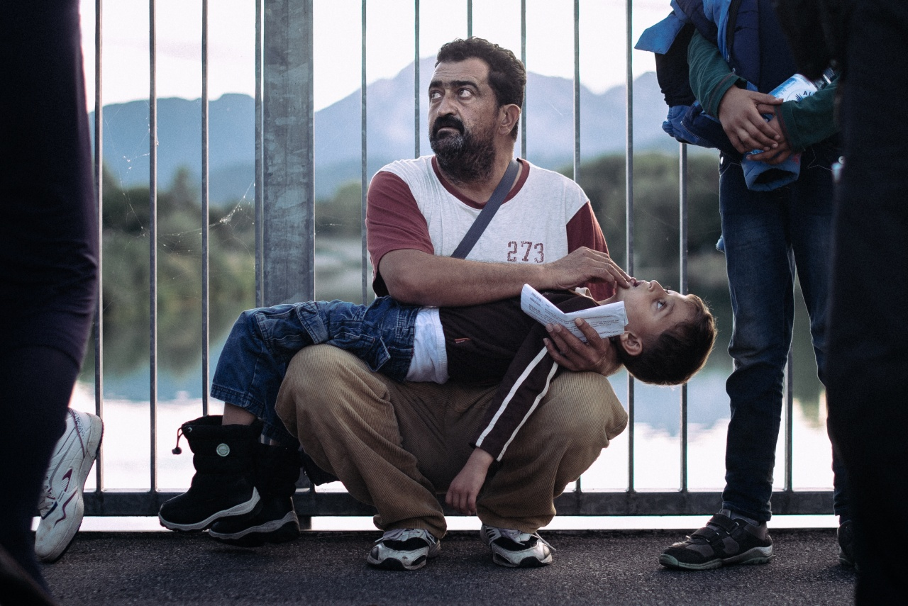 Syrian refugee at the German border