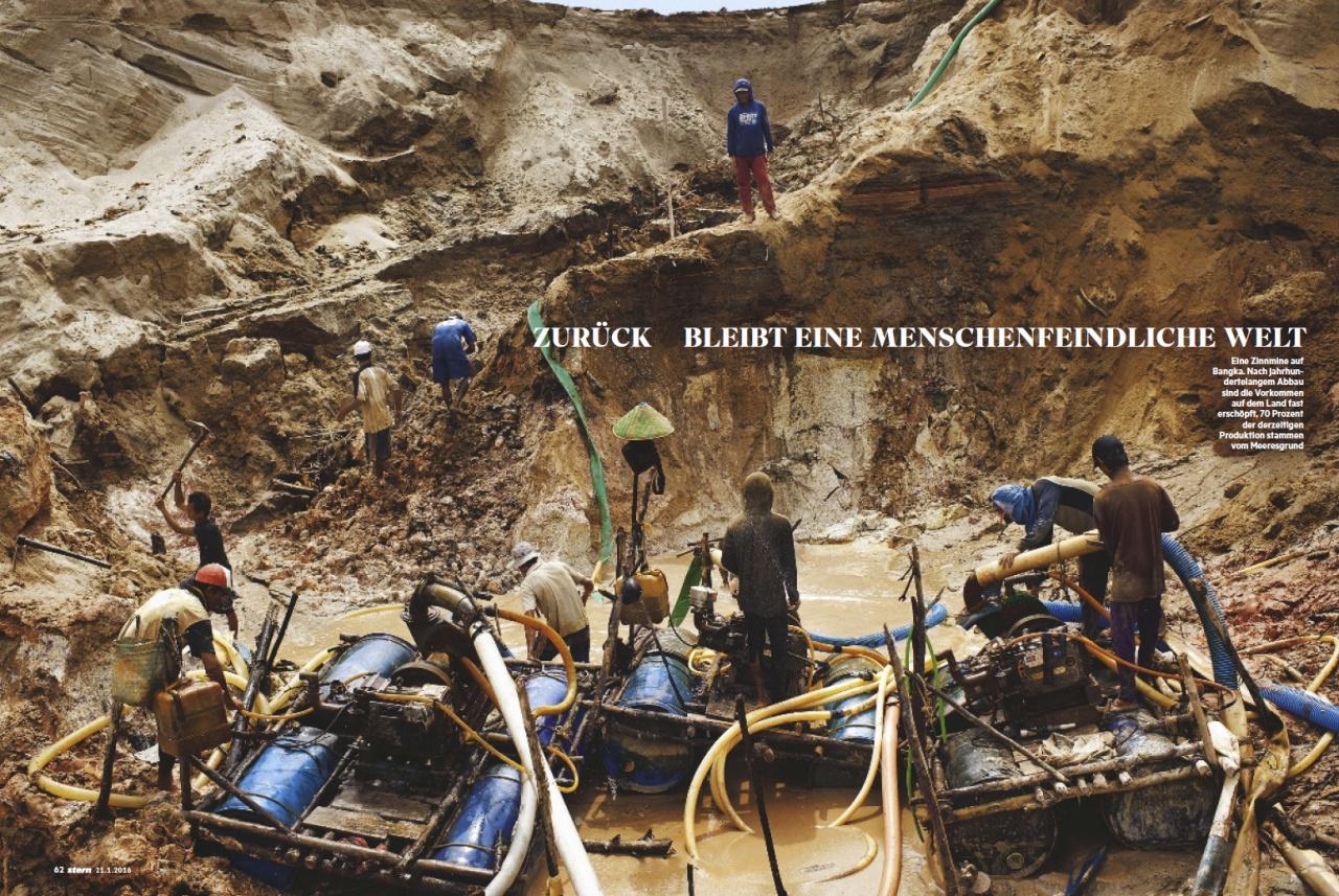 Tin mining in Indonesia