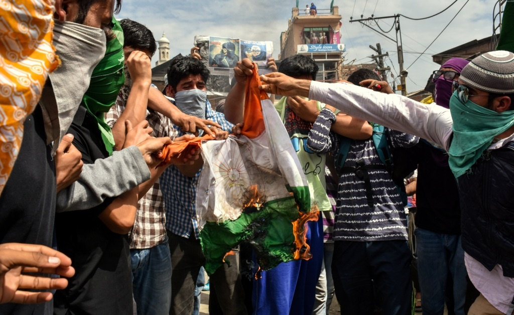 Indian flag ablazed in protest