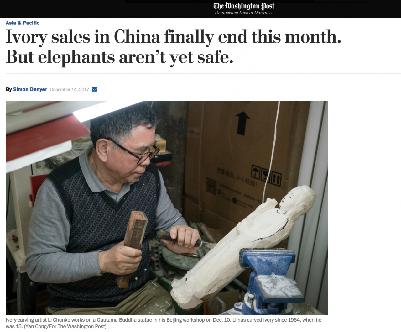 Ivory sales in China finally end this month