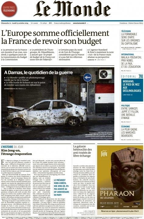 Syria Le Monde cover