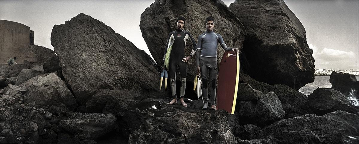 Rabat. Surfers
