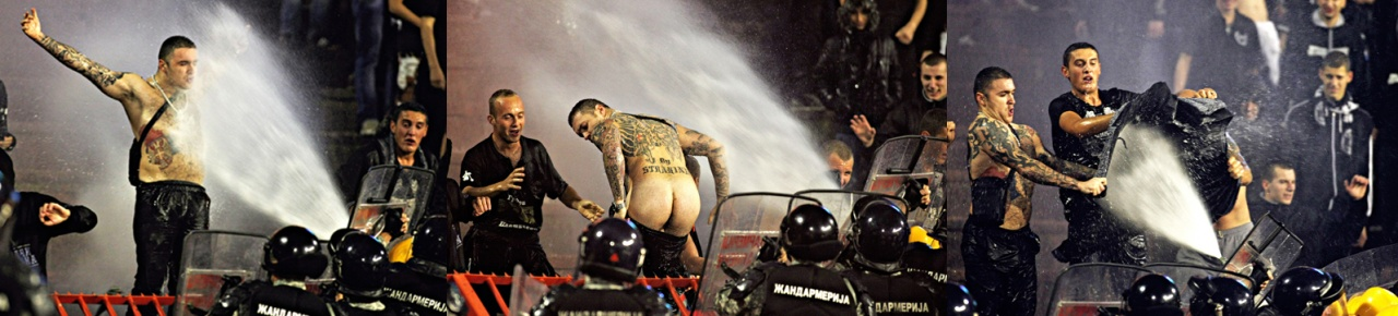 Partizan supporter exposes his backside to police