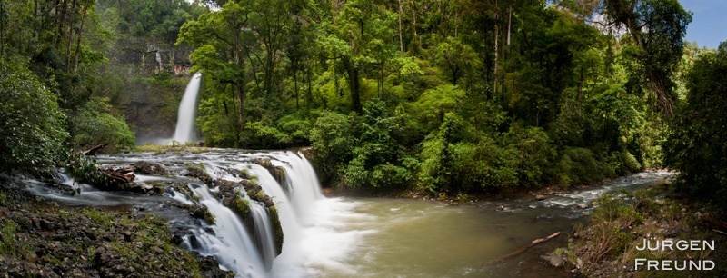 Rainforest waterfall panorama
