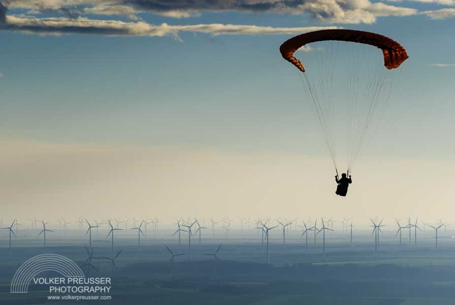 Paraglider and Wind Turbines