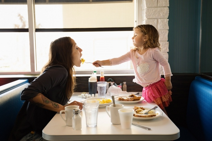 Mom and Daughter at the Diner