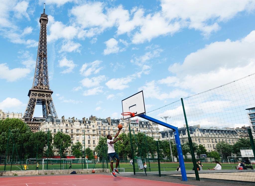 Shooting hoops in Paris