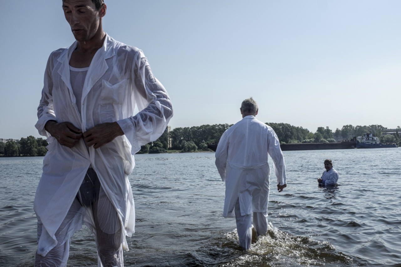 Baptist immersion in Volga river.