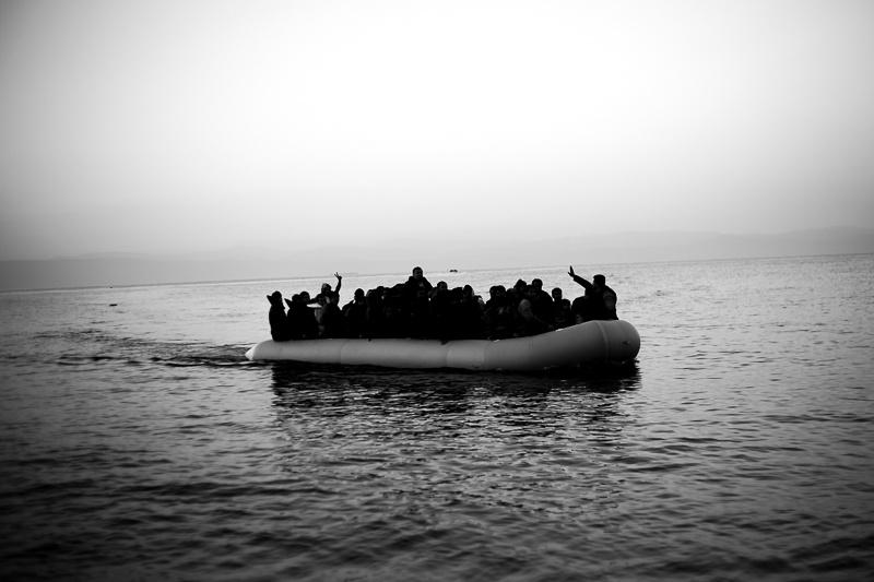 Refugees arrive at Lesvos island