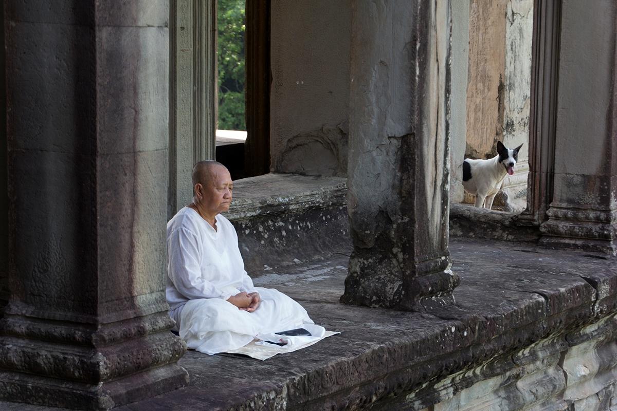 Meditation; Angkor Wat Temple, Cambodia