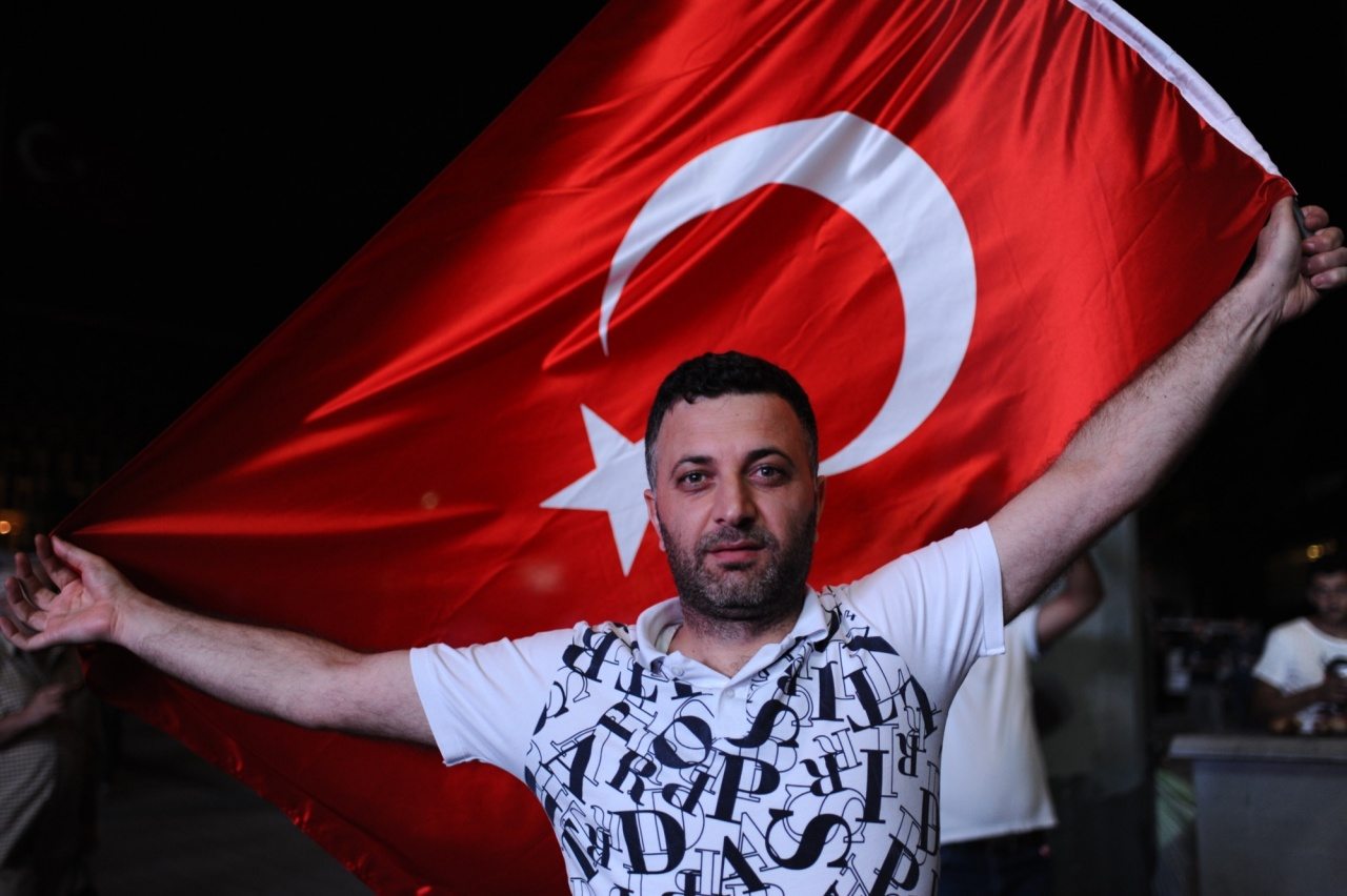 Protester with Turkish Flag