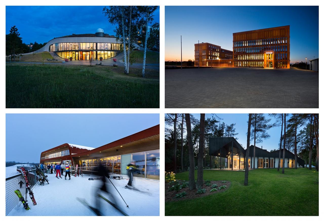Estonian modern architecture by night