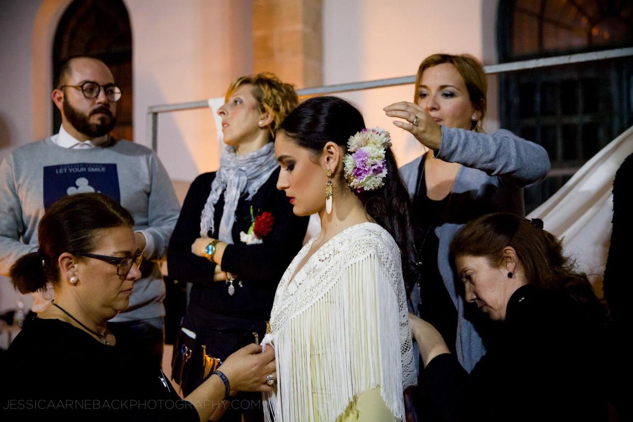 Flamenco Fashion show backstage