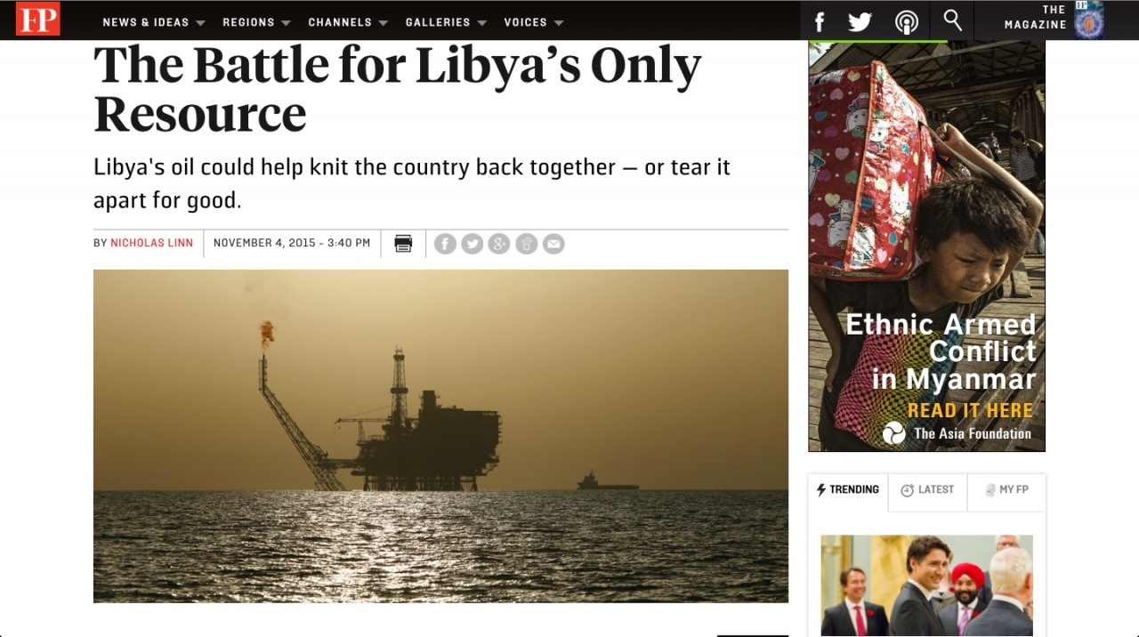 FOREIGN POLICY: Battle for Libya's Only Resource