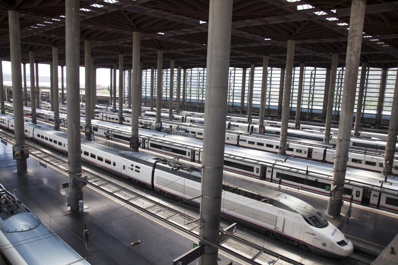 Bullet trains in Atocha Station (Madrid, Spain)