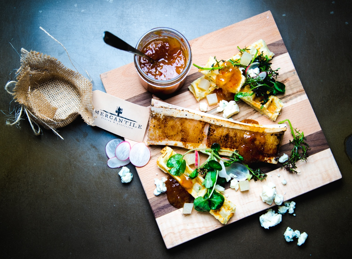 Roast Bone Marrow | Peach Jam | Herb Waffle
