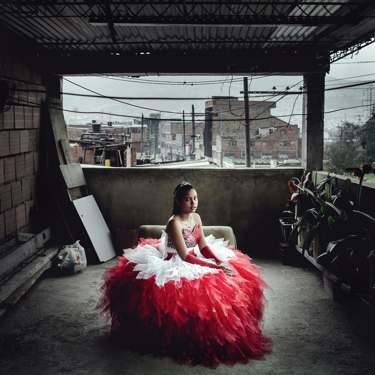 Laura Cristina Zarta in her quinceanera dress