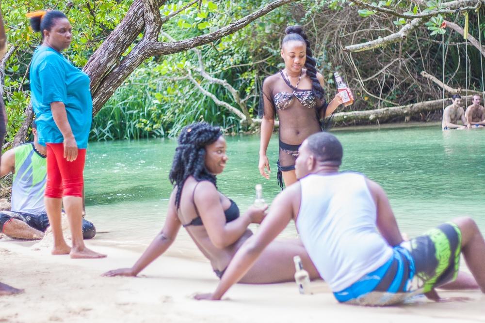 The beach scene in Jamaica