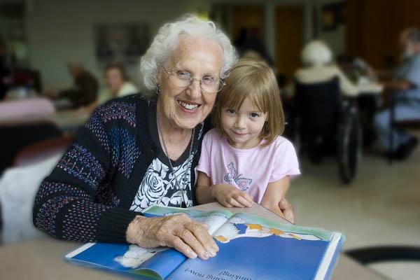 Reading to Grandma