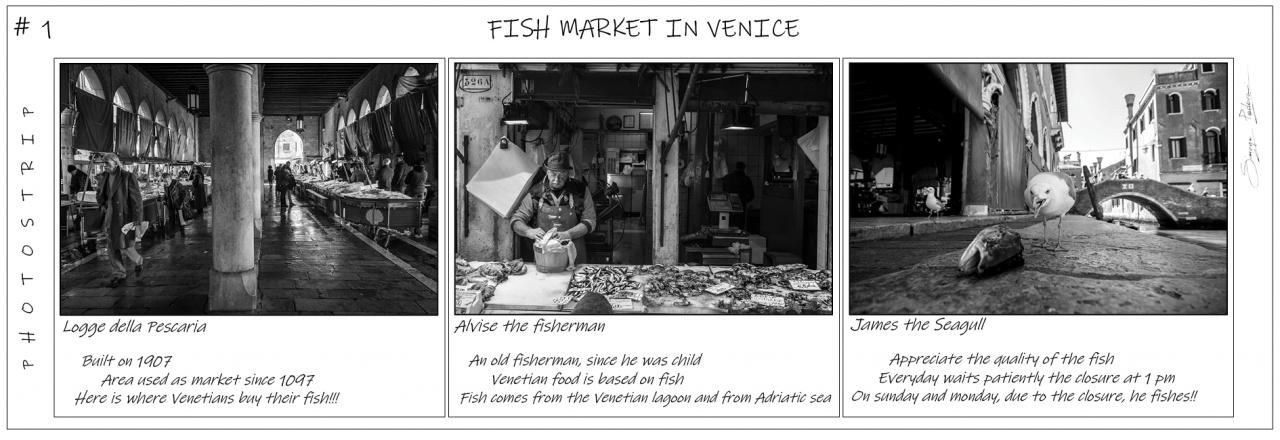 PhotoStrip #1 - Fish Market at Rialto in Venice