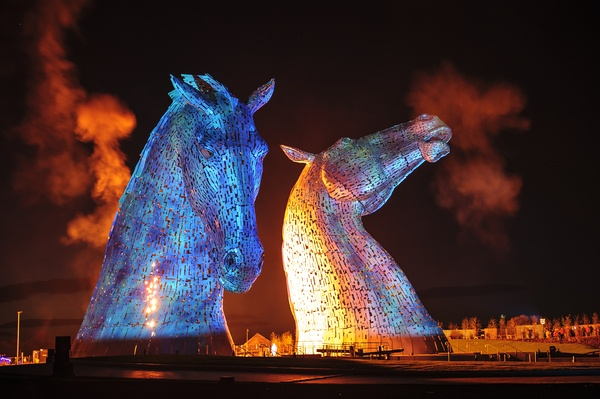The Kelpies monument in Falkirk, Scotland, UK.