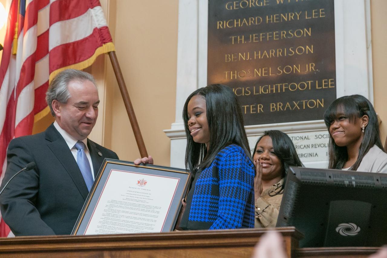 Gabby Douglas Receives Senate Joint Resolution