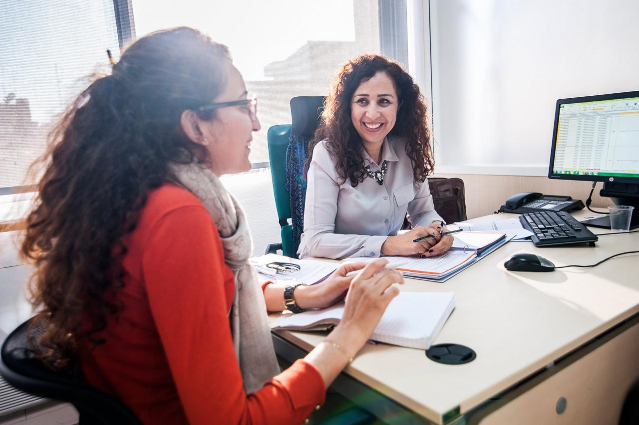 MOROCCO, CASABLANCA: Women working for a bank