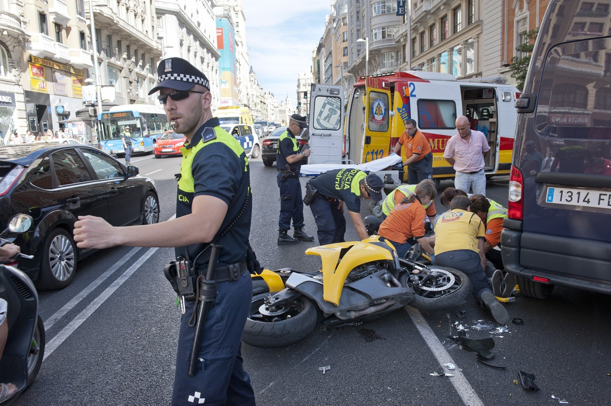 Policing in Madrid, Spain.