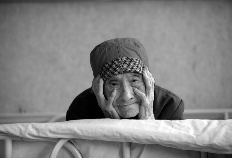 Elderly woman in hospice in Tongxian, China