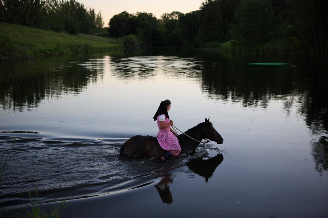 Hadassah swimming with Kahlua