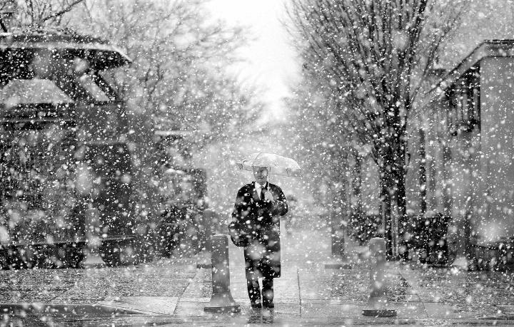 Snowfall at Temple Square