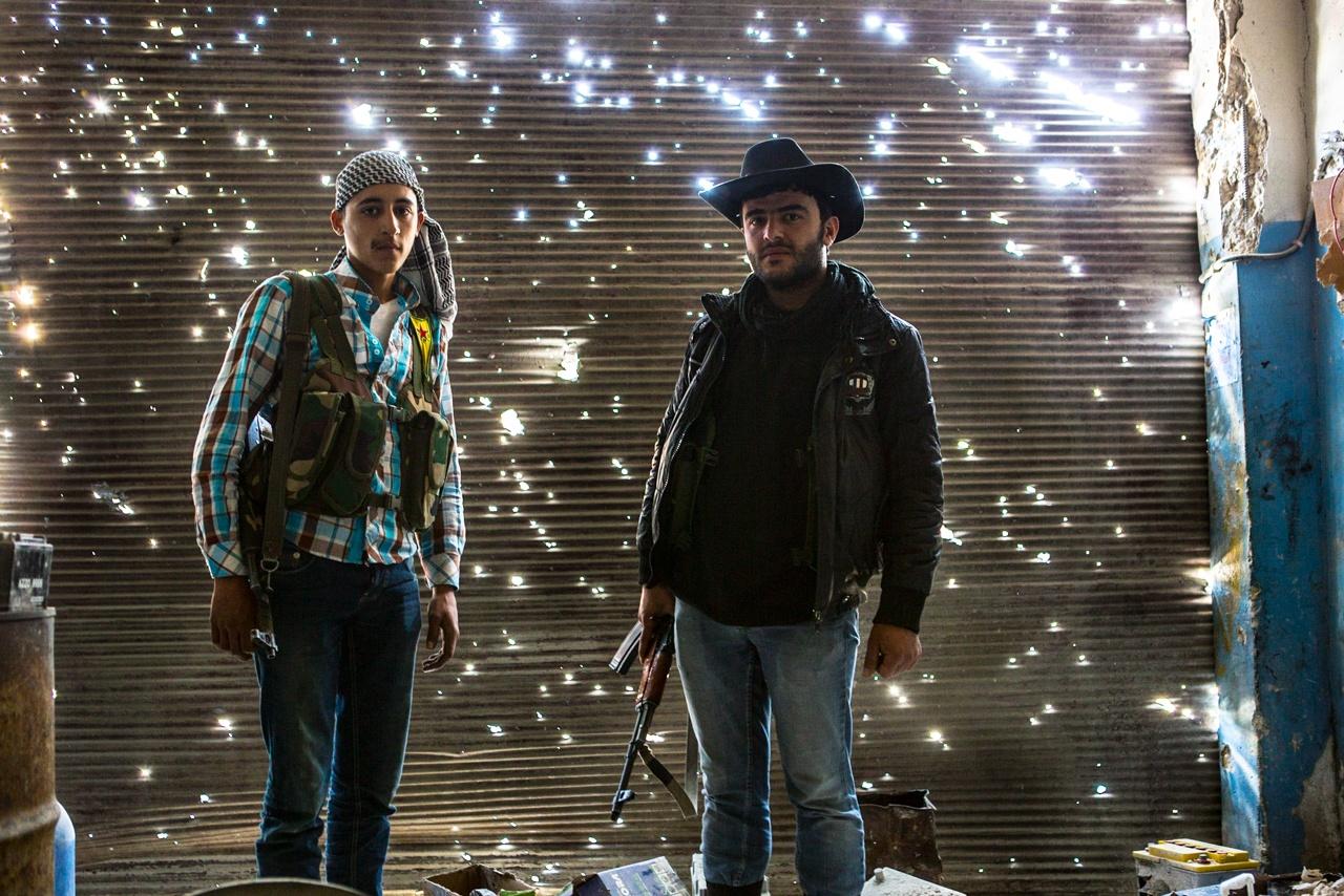 YPG Fighters in Garage, Aleppo